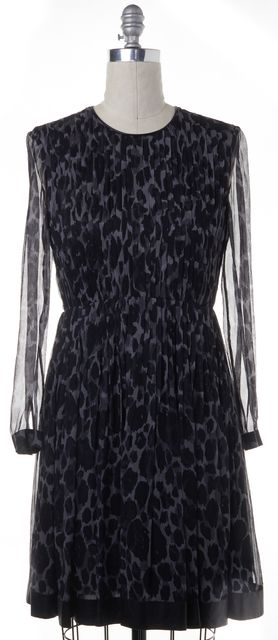 BURBERRY LONDON Black Animal Print Silk Sheath Dress