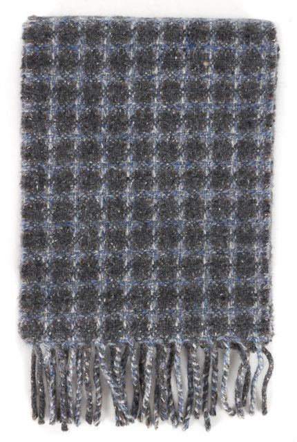 BURBERRY LONDON Gray Blue Metallic Check Cashmere Knit Fringe Trim Scarf
