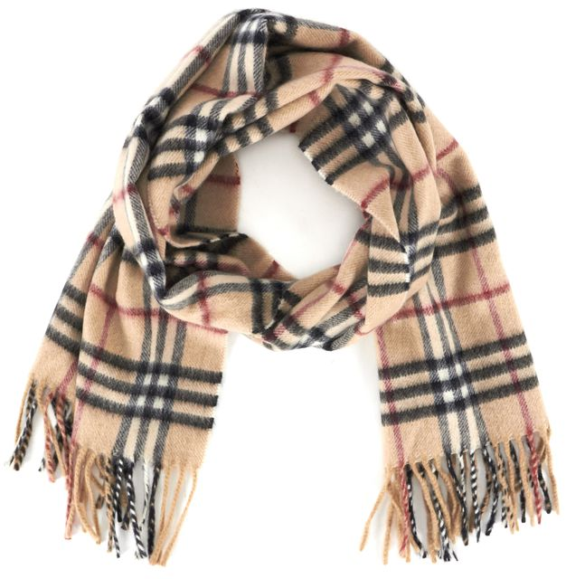 BURBERRY LONDON Beige Multi House Check Cashmere Fringe Trim Scarf