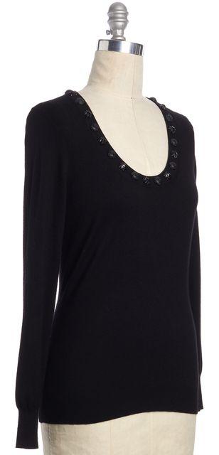 BURBERRY LONDON Black Silk Wool Blend Embellished Scoop Neck Knit Top
