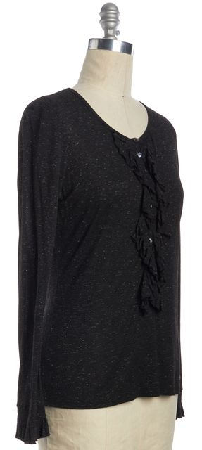 BURBERRY LONDON Black Sparkle Ruffle Button Up Top