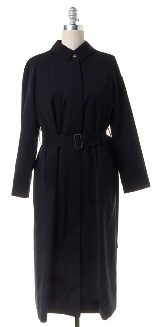BURBERRY LONDON Wool Black Full Length Trench Coat
