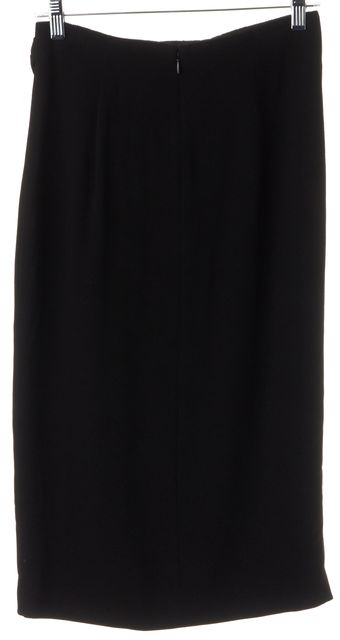 BURBERRY LONDON Black Straight Gathered Top Skirt with Front Slit