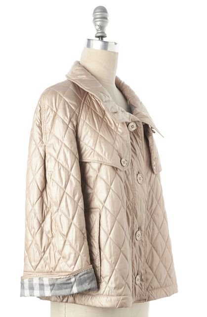 BURBERRY LONDON Beige Quilted Button Down Jacket