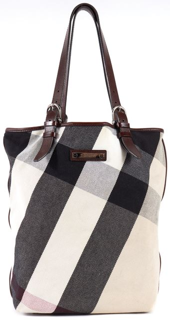 BURBERRY LONDON Multi-Color House Check Canvas Leather Tote Bag