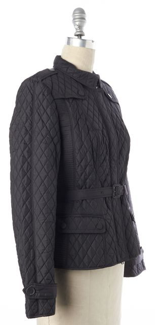 BURBERRY LONDON Black Quilted Belted Waist Zip Jacket