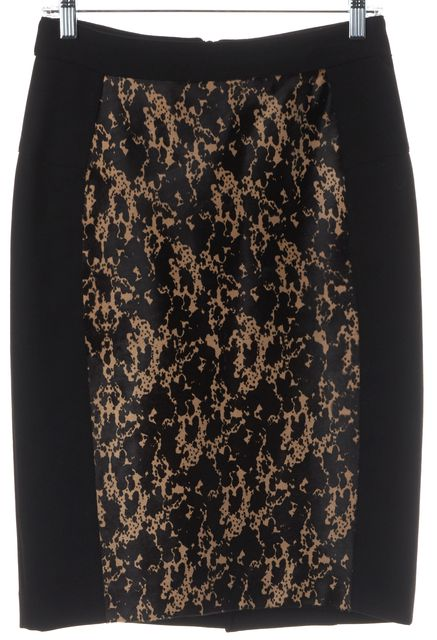 BURBERRY LONDON Black Beige Printed Calf Hair Casual Abstract Pencil Skirt