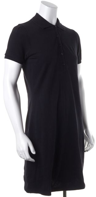 BURBERRY LONDON Black Bodycon Collared Button on Front Dress