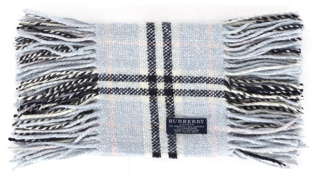 BURBERRY LONDON Blue House Check Wool Knit Skinny Fringe Trim Scarf