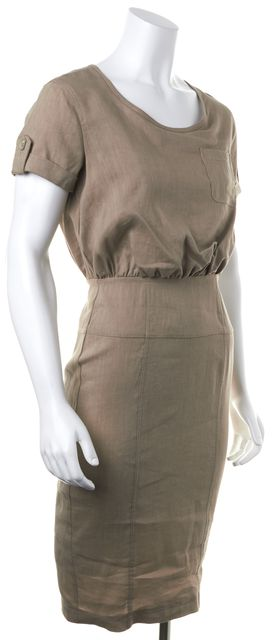 BURBERRY LONDON Beige Linen Sheath Dress