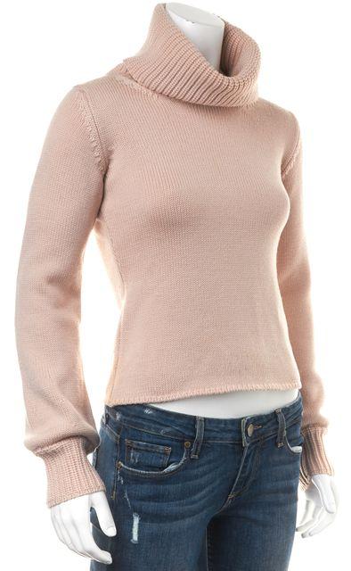 BURBERRY LONDON Pink Wool Knit Turtleneck Sweater
