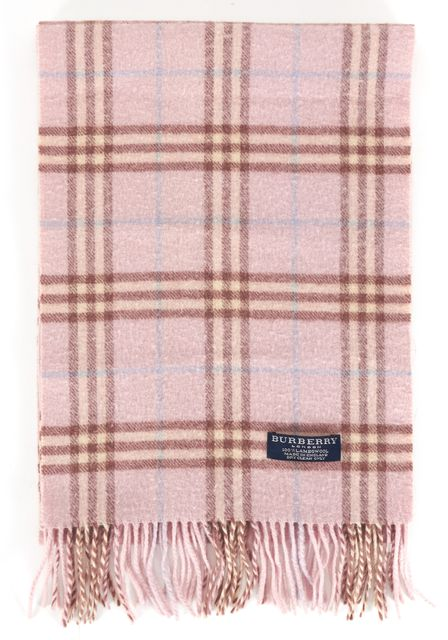 BURBERRY LONDON Pink Cream Blue 100% Lambswool Plaid Fringe Scarf