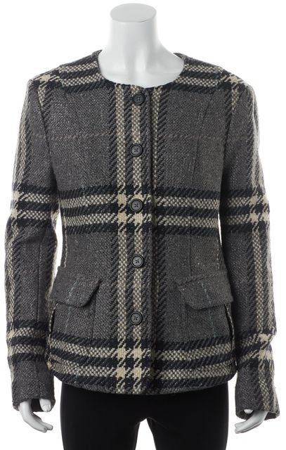 BURBERRY LONDON Gray Tweed Wool Basic Front Pockets Coat