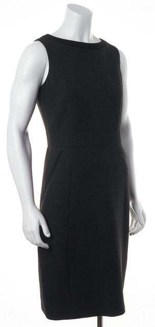 BURBERRY LONDON Charcoal Gray Black Trim Wool Casual Sheath Career Dress