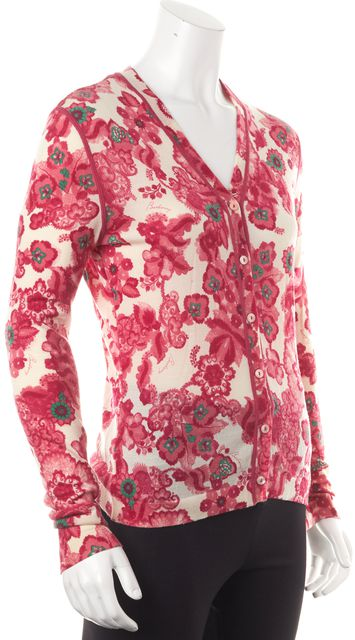 BURBERRY LONDON Pink Floral Cardigan Sweater