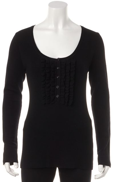 BURBERRY LONDON Black Ruffle Trim Long Sleeve Scoop Neck Henley Sweater