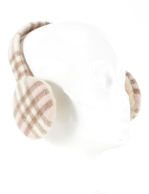 BURBERRY LONDON Beige Pink House Check Cashmere Shearling Trim Ear Muffs