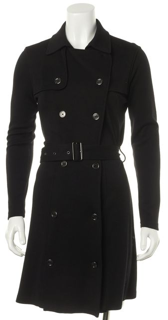BURBERRY LONDON Black Wool Casual Double Breasted Belted Sheath Dress