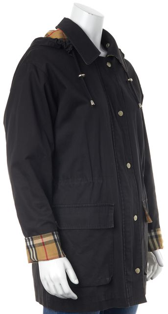 BURBERRY LONDON Black Plaid Check Lined Basic Zip Front Hooded Jacket