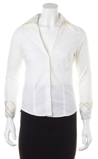 BURBERRY LONDON White Button Down Designed Inner Collar Shirt Top