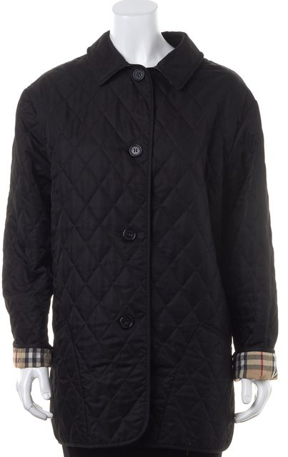 BURBERRY LONDON Black Quilted Button Down Jacket