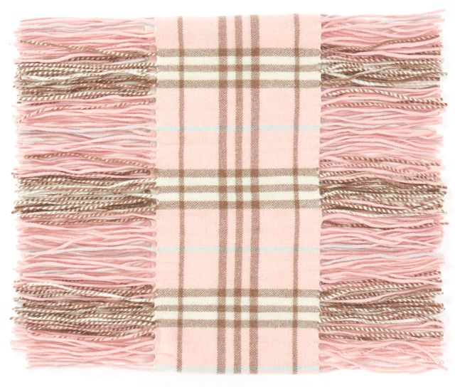 BURBERRY LONDON Pink House Check Cashmere Fringe Trim Long Skinny Winter Scarf