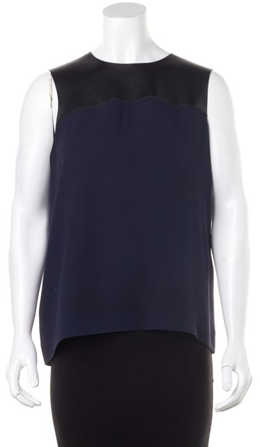 BURBERRY LONDON Navy Blue Silk Black Leather Panel Sleeveless Blouse