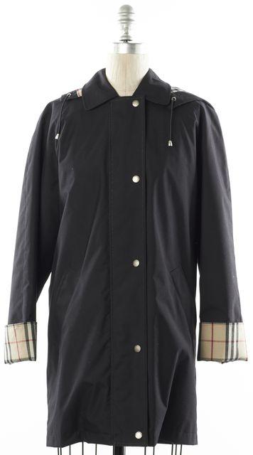 BURBERRY LONDON Black Wool Raincoat