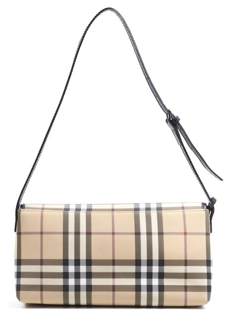 BURBERRY LONDON Beige House Check Coated Canvas Flap Shoulder Bag
