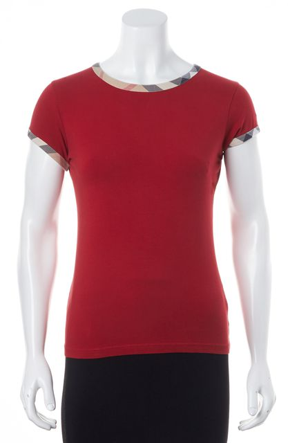 BURBERRY LONDON Red House Check Trim Short Sleeve Basic T-Shirt