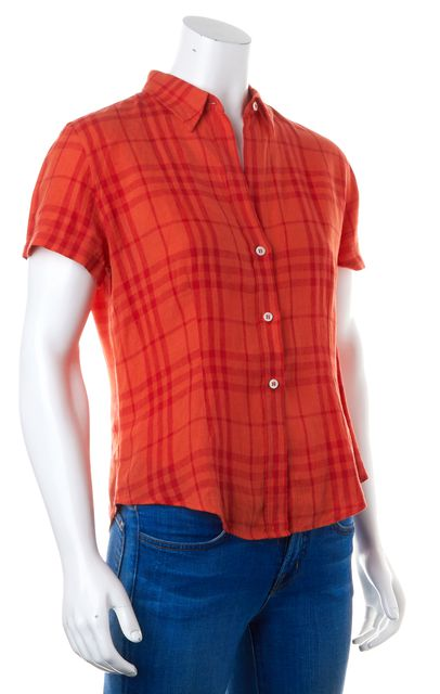 BURBERRY LONDON Orange Red Plaid Linen Button Down Shirt Top
