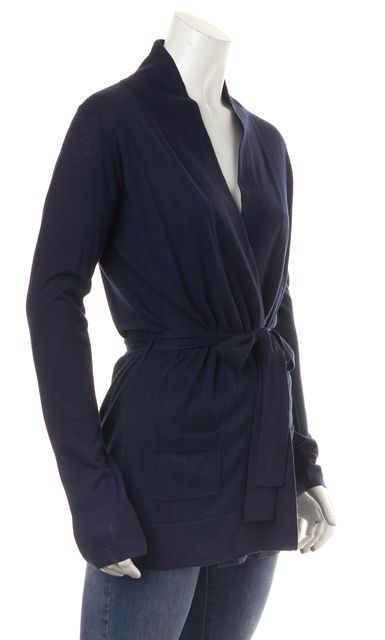 BURBERRY LONDON Navy Blue Cashmere Silk Open Waist Tie Cardigan Sweater