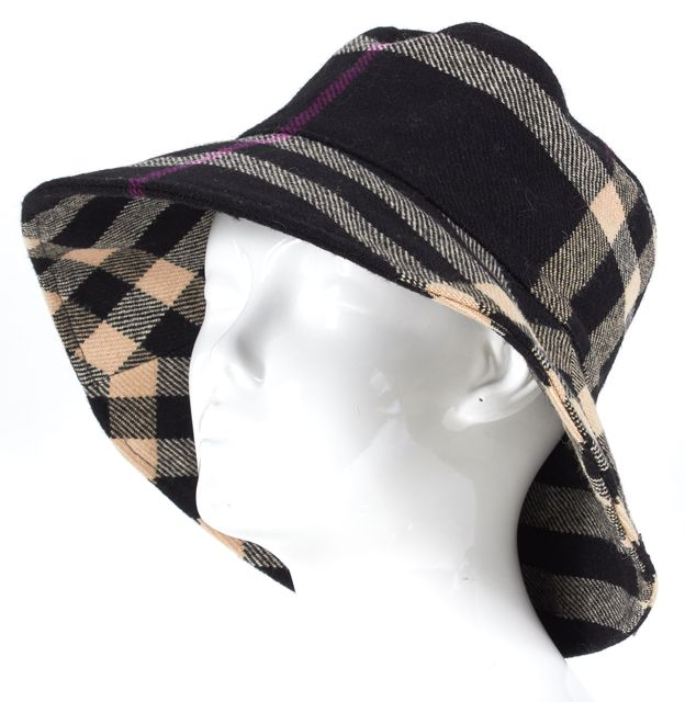 BURBERRY LONDON Black Beige Purple House Check Wool Bucket Hat