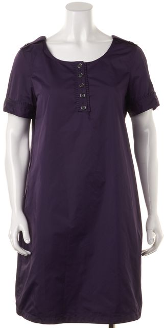 BURBERRY LONDON Purple Short Sleeve Buttoned Blouson Dress