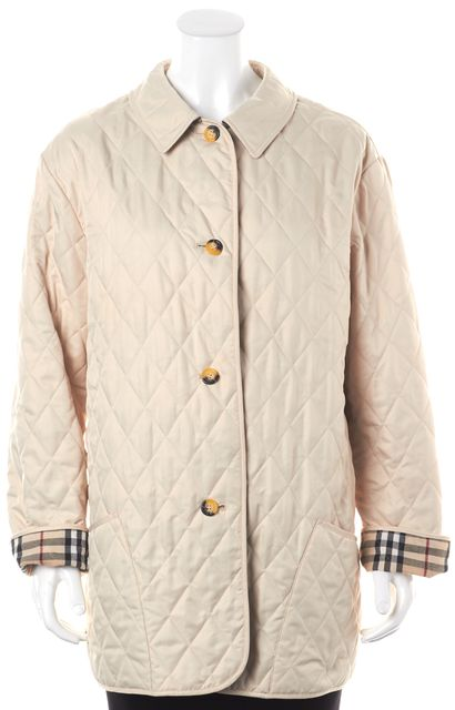 BURBERRY LONDON Beige Quilted House Check Lined Relaxed Fit Basic Coat