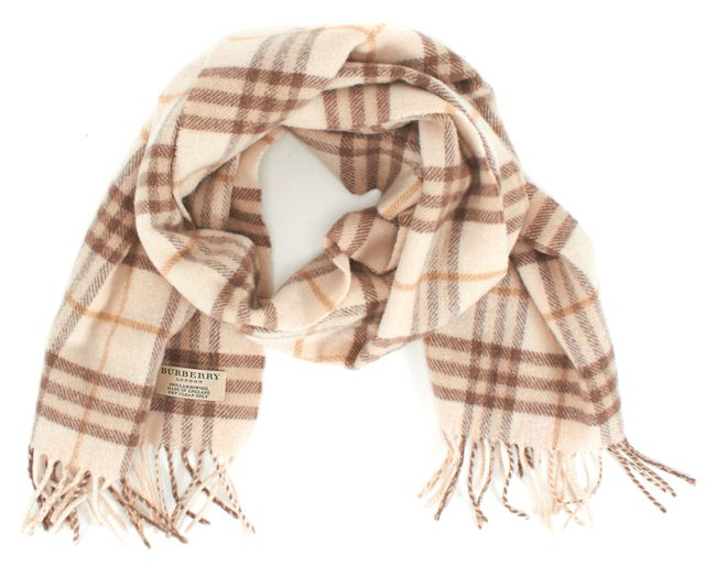 BURBERRY LONDON Beige Plaids & Checks Wool Scarf