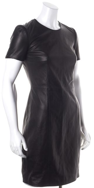 BURBERRY LONDON Black Leather Cap Sleeve Above Knee Sheath Dress
