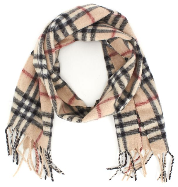 BURBERRY LONDON Beige Plaids & Checks Cashmere Scarf