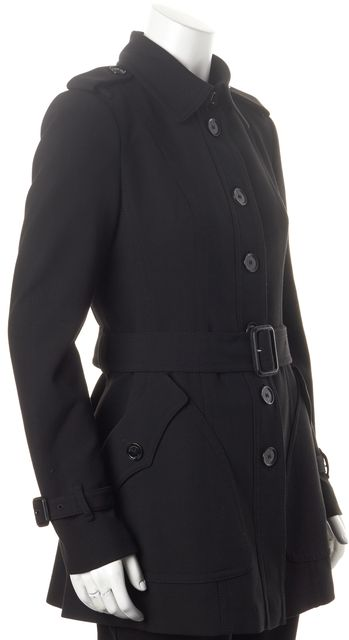 BURBERRY LONDON Black Double Pocket Waist-TIe Basic Jacket