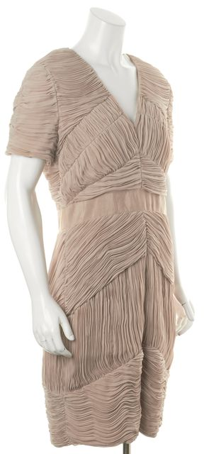 BURBERRY LONDON Nude Beige Pleated Short Sleeve V-Neck Sheath Dress