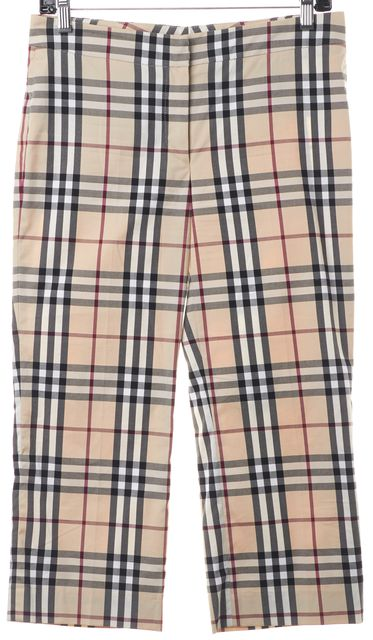 BURBERRY LONDON Beige Multi House Check Plaid Cotton Cropped Pants
