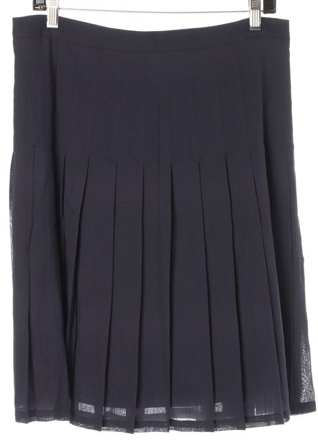 BURBERRY LONDON Navy Blue Cotton Pleated Skirt