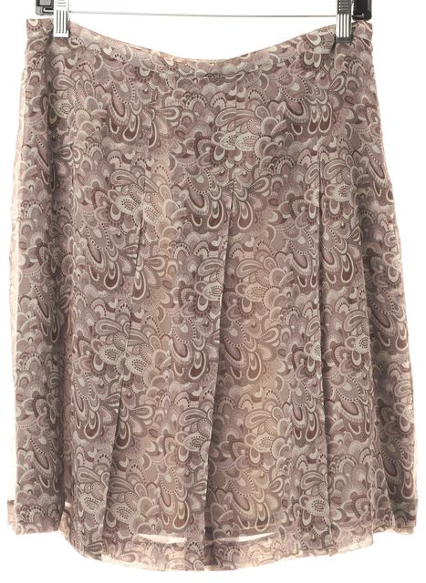 BURBERRY LONDON Pink Gray Paisley Silk Pleated Skirt