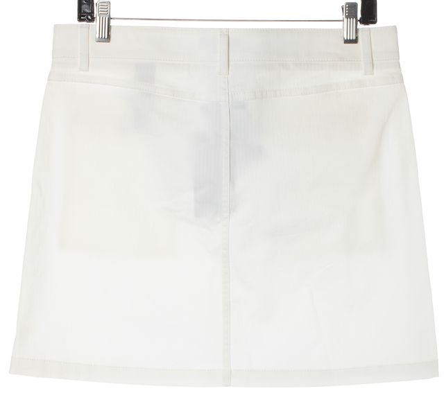 BURBERRY LONDON White Stretch Cotton Patch Pockets Pencil Skirt