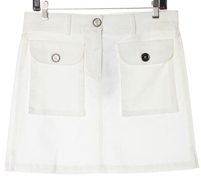 BURBERRY LONDON White Stretch Cotton Patch Pockets Pencil Skirt