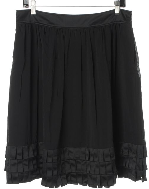 BURBERRY LONDON Black Silk Satin Tiered Ribbon Hem Pleated Skirt