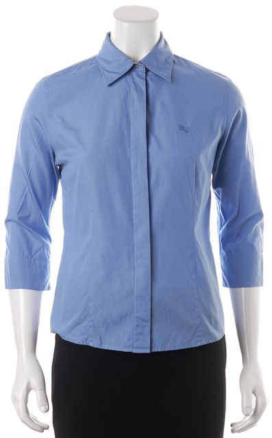 BURBERRY LONDON Blue Cotton 3/4 Sleeve Fitted Button Down Shirt Top