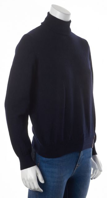 BURBERRY LONDON Navy Blue Merino Wool Long Sleeve Turtleneck Sweater