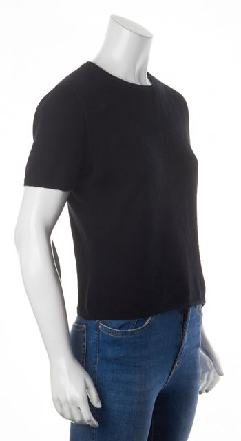 BURBERRY LONDON Black Cashmere Short Sleeve Crewneck Knit Top