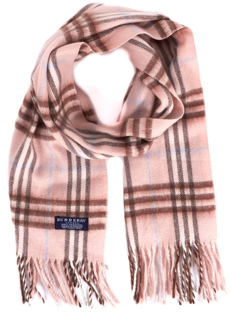 BURBERRY LONDON Pink Blue Brown House Check Cashmere Scarf